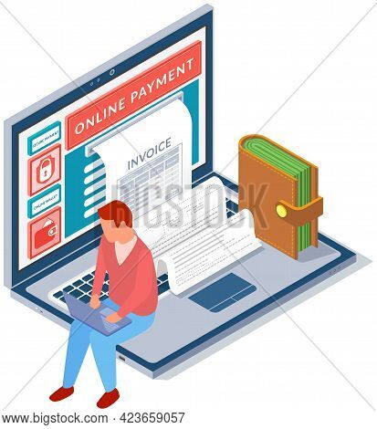Financial Transaction Notification, Online Bankin Concept. Man Makes Online Payment And Receives Che