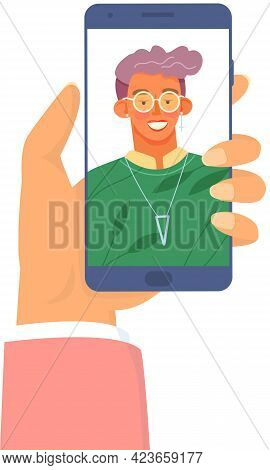 People Communicate Via Online Video Call Through Mobile Phone. Girl On Smartphone Screen Smiling And