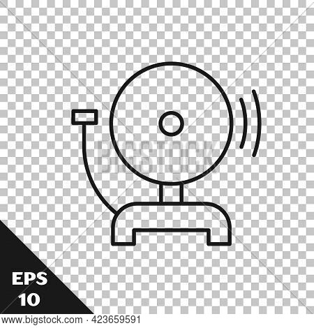 Black Line Ringing Alarm Bell Icon Isolated On Transparent Background. Fire Alarm System. Service Be
