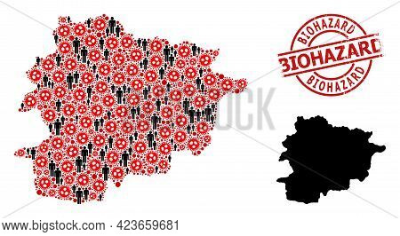 Collage Map Of Andorra Organized From Sars Virus Elements And People Icons. Biohazard Grunge Stamp.
