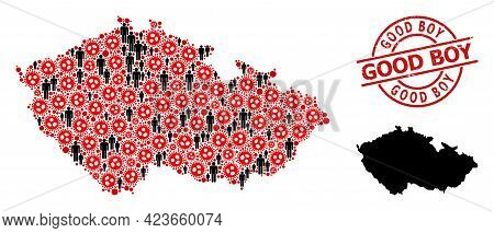 Collage Map Of Czech Republic United From Covid Virus Icons And Men Icons. Good Boy Textured Seal. B