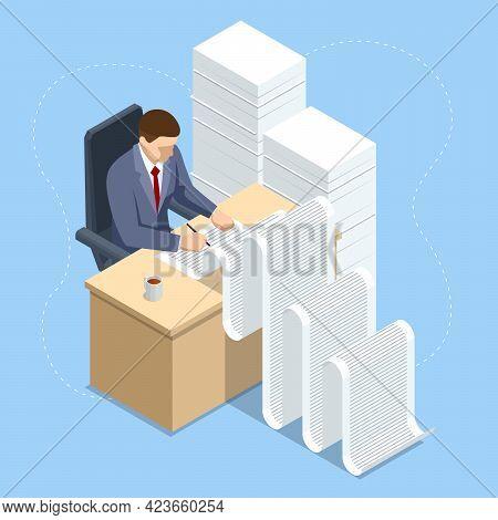 Isometric Routine, Bureaucracy, Big Data, Paperwork And Office. Lot Of Paperwork And Bureaucracy