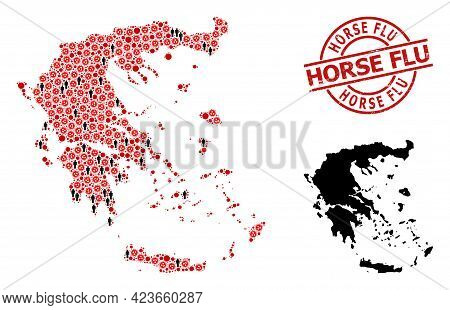Collage Map Of Greece Organized From Virus Outbreak Items And Men Items. Horse Flu Textured Watermar
