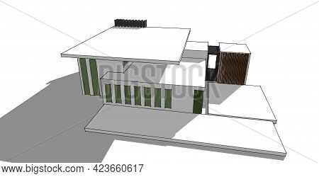 Architecture Building 3d Illustration, Modern Urban Architecture Abstract Background Design.