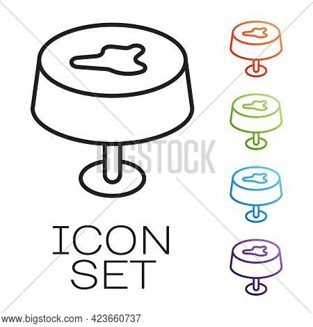 Black Line Stain On The Tablecloth Icon Isolated On White Background. Set Icons Colorful. Vector