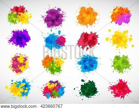 Color Splashes. Abstract Ink Brushes Shapes Liquid Colored Templates Splatters Magenta Yellow Blue R