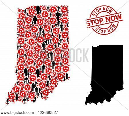 Collage Map Of Indiana State Designed From Covid Elements And People Elements. Stop Now Scratched Wa