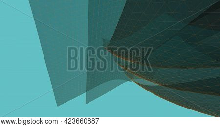 Wireframe 3d Illustration, Abstract Background Wireframe Design.