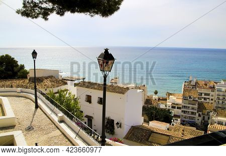 Beautiful Panoramic View Of Altea Village And Mediterranean Sea From The Santa Barbara Viewpoint In