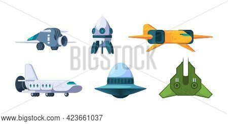 Spaceship. Ufo And Rockets Space Travel Universe Shuttles Garish Vector Futuristic Jet Plane Illustr