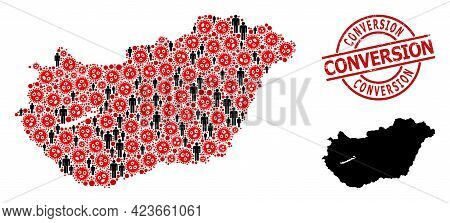 Collage Map Of Hungary United From Sars Virus Items And Men Items. Conversion Scratched Seal Stamp.