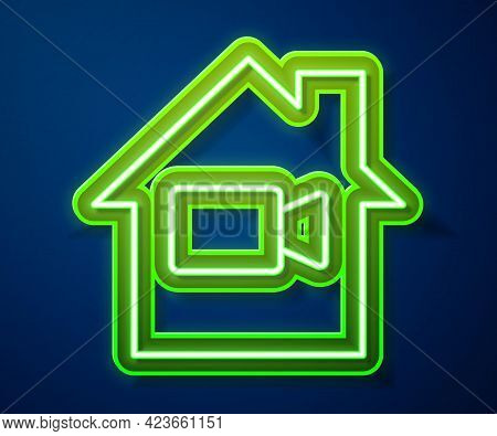 Glowing Neon Line Video Camera Off In Home Icon Isolated On Blue Background. No Video. Vector