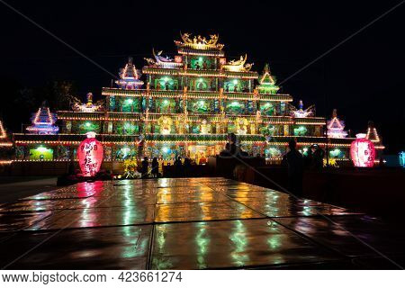 Puli Township, Taiwan -December 02, 2020: colorful building in the night at Chinese altar, Taoist special dedication sacrificial ceremony in Puli township, Nantou, Taiwan