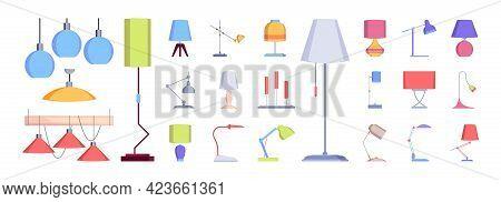 Lamp Collection. Flat Interior Lighting Decoration Modern Lamp Antique Chandelier Garish Vector Pict