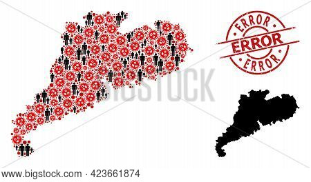 Collage Map Of Guangdong Province Designed From Virus Outbreak Icons And Humans Icons. Error Texture