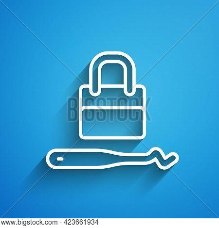 White Line Lockpicks Or Lock Picks For Lock Picking Icon Isolated On Blue Background. Long Shadow. V