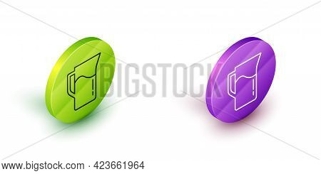 Isometric Line Milk Jug Or Pitcher Icon Isolated On White Background. Green And Purple Circle Button