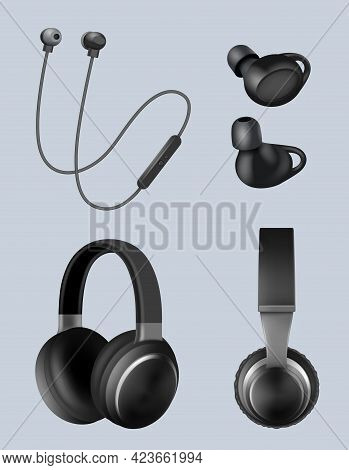 Realistic Headphones. Music Objects Audio Headset For Listening Decent Vector Illustrations Set Isol