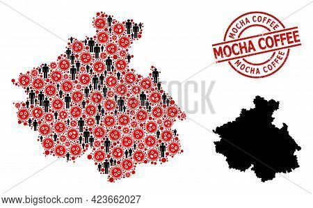Collage Map Of Altai Republic Designed From Covid Virus Icons And Men Elements. Mocha Coffee Distres