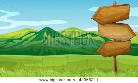 Illustration of empty wooden signboard across the mountains