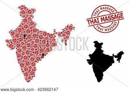 Mosaic Map Of India United From Coronavirus Icons And Humans Icons. Thai Massage Grunge Seal. Black