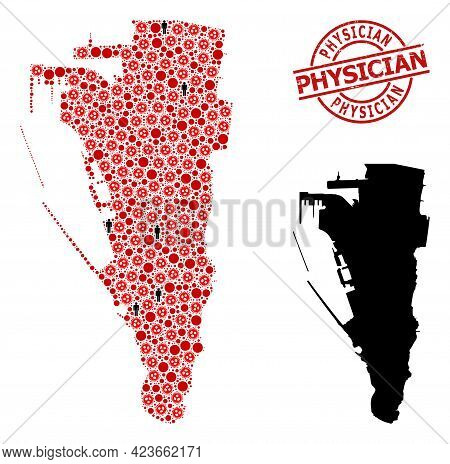 Mosaic Map Of Gibraltar United From Coronavirus Items And People Items. Physician Scratched Seal Sta