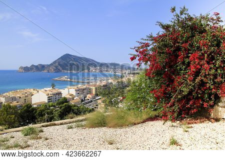 Beautiful Panoramic View Of Altea Village And Mediterranean Sea From The Viewpoint In Spring