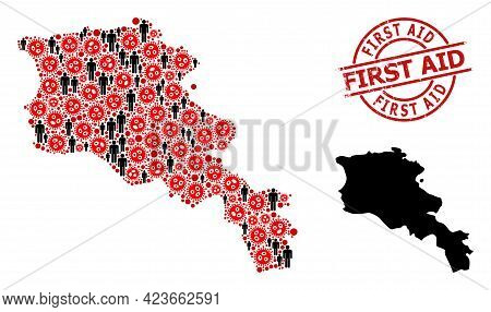 Collage Map Of Armenia Organized From Covid Elements And Population Items. First Aid Grunge Seal. Bl