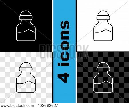 Set Line In Can Icon Isolated On Black And White, Transparent Background. Seasoning Collection. , Co