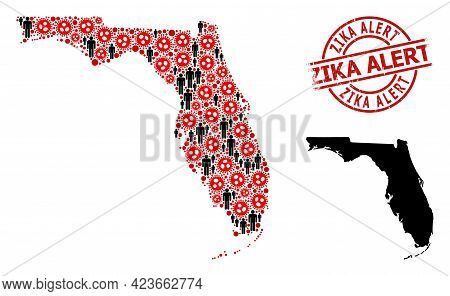 Mosaic Map Of Florida State United From Coronavirus Icons And Humans Icons. Zika Alert Textured Seal