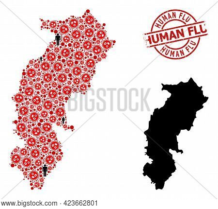 Collage Map Of Chhattisgarh State Designed From Virus Elements And People Icons. Human Flu Scratched