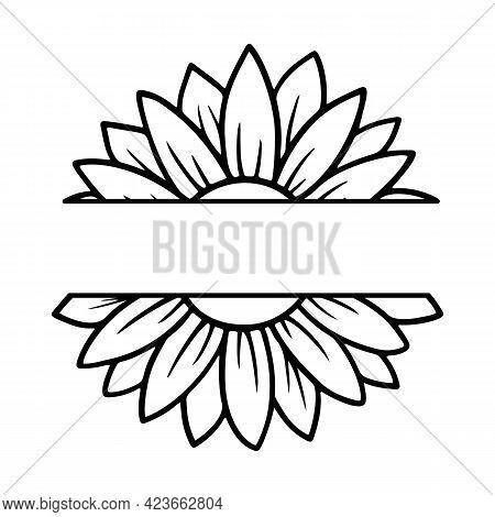 Sunflower Split Monogram. Flower Silhouette Vector Illustration. Sunflower Graphic Logo, Hand Drawn