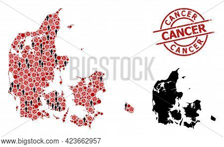 Mosaic Map Of Denmark Designed From Covid-2019 Elements And Population Elements. Cancer Scratched Ba