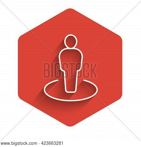White Line Map Marker With A Silhouette Of A Person Icon Isolated With Long Shadow Background. Gps L