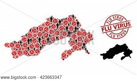 Mosaic Map Of Arunachal Pradesh State Designed From Covid Items And Men Icons. Flu Virus Scratched S