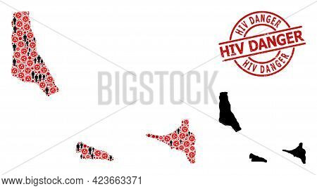 Collage Map Of Comoros Islands Constructed From Covid Virus Elements And People Items. Hiv Danger Te