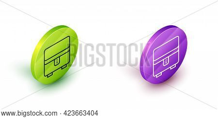Isometric Line Jewelry Box Icon Isolated On White Background. Casket With Jewelry. Green And Purple