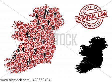 Collage Map Of Ireland Island Organized From Virus Outbreak Items And Men Elements. Criminal Law Tex