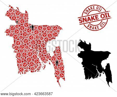 Mosaic Map Of Bangladesh Composed Of Sars Virus Items And Population Items. Snake Oil Distress Water