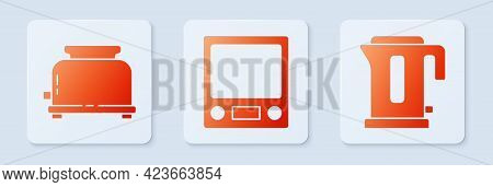 Set Electronic Scales, Toaster And Electric Kettle. White Square Button. Vector