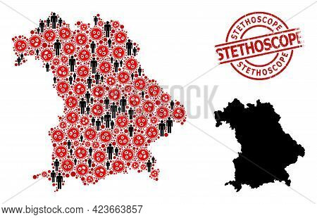 Mosaic Map Of Bavaria State Composed Of Sars Virus Items And Demographics Items. Stethoscope Scratch