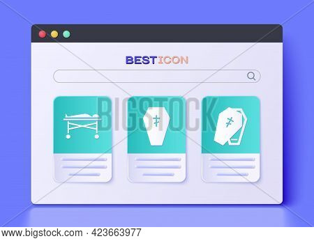 Set Coffin With Cross, Dead Body In The Morgue And Coffin With Cross Icon. Vector