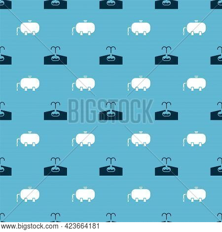 Set Oilfield And Oil Industrial Factory Building On Seamless Pattern. Vector