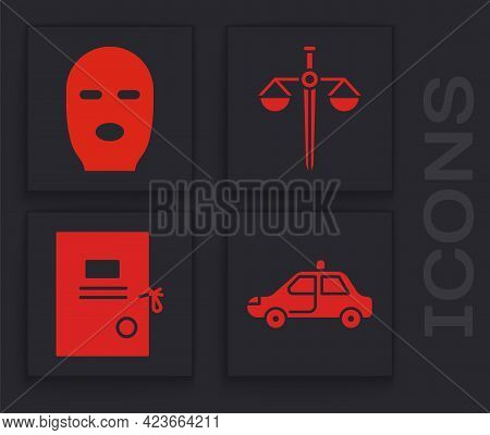 Set Police Car And Flasher, Thief Mask, Scales Of Justice And Lawsuit Paper Icon. Vector