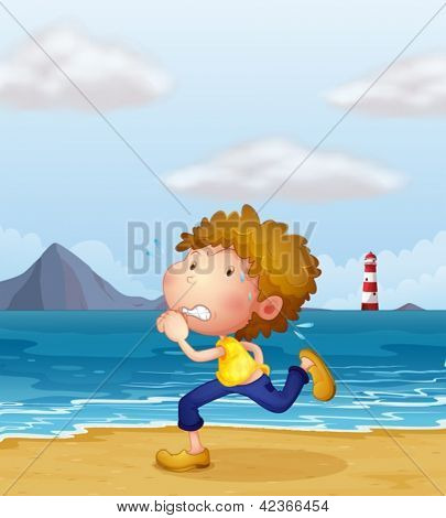 Illustration of a young man jogging along the beach