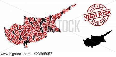 Collage Map Of Cyprus Island Organized From Sars Virus Items And Humans Elements. High Risk Distress