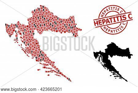 Collage Map Of Croatia Organized From Flu Virus Elements And Men Icons. Hepatitis C Textured Stamp.