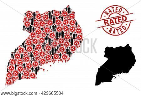 Collage Map Of Uganda United From Sars Virus Items And Demographics Elements. Rated Textured Seal St