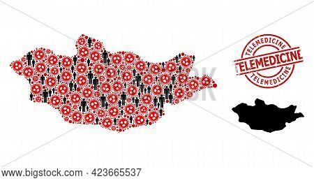 Mosaic Map Of Mongolia Designed From Virus Outbreak Icons And People Elements. Telemedicine Distress