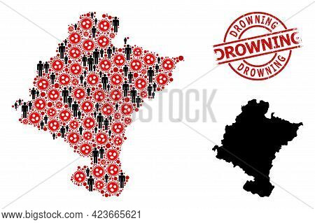 Collage Map Of Navarra Province Designed From Flu Virus Elements And Humans Items. Drowning Scratche